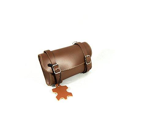 Hinten Sattel. Bike Bag Fahrrad Tasche. Gepäckträger. Fahrradgepäcktasche. Satteltasche, Fahrradtasche. Weinlese. Echtes Leder/Vero Cuoio. Farbe Braun. Made IN Italy (VIN_3C_M)