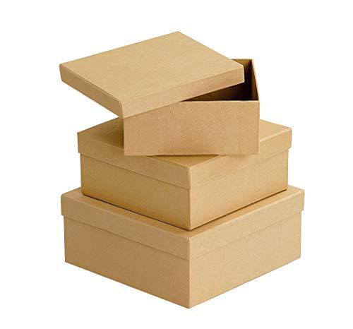 3 Schachteln aus Karton quadratisch Pappschachteln Quadratschachteln, von VBS
