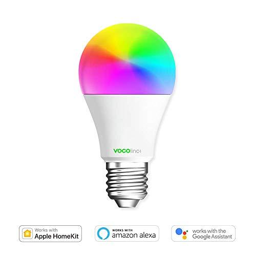 VOCOlinc L1 Smart WiFi Glühbirne A19 - LED Glühbirne für Alexa, Apple HomeKit, Google, Smart Home Lampe, Dimmbar, 16 Mio. Farben, Smartphone Birne, Intelligente Glühlampe, A, 6W, E26 / E27 - 1 Stk. -
