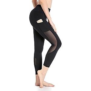 deeptwist Damen Mesh Yogahose Workout Strumpfhose Sports Hosen Fitness Leggings mit Taschen