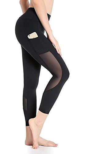 DeepTwist Mesh Capri Yoga Hosen Workout Yogahose Active Sport Strumpfhose Fitness Running Sporthose mit Taschen für Damen, UK-DT4008-Black-4 (Voller In Länge-unterstützung)