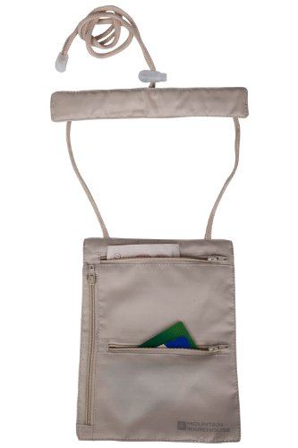 Mountain Warehouse Pochette de cou de sécurité - portefeuille de voyage léger, lavable, Slim-Line Travel Document Wallet, Soft & Tricot support porte-passeport