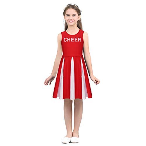dPois Mädchen Cheerleaderin Kostüm Tanzkostüm Ballett Kleid Ärmellos Tanzkleid Kinder Sports Bekleidung Ballett Trikot Cheerleading Kostüm Schulmädchen Uniform Rot 152/12Jahre