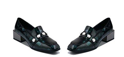 Perline Pearl Square Toe scarpe piane Slip On Diamond Scarpe Casual Scarpe Worke Comforty Green
