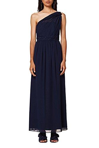 ESPRIT Collection Damen 028EO1E031 Partykleid, Blau (Navy 400), 42 One-shoulder-chiffon-kleid