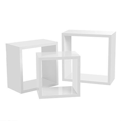 Songmics mensola a muro set di 3 mensole a cubo mensole a muro stile, 30/26/22 cm, mdf bianco lws30wt