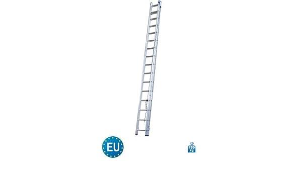 Aluminium Schiebeleiter mit Seilzug 2-teilig 2 x 16 Stufen