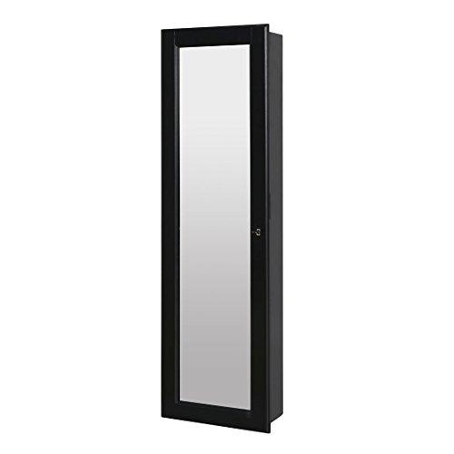 HLC Klassische Wandmontage Schmuckschrank Schminkschrank Schmuck Spiegelschrank Schmuckkasten mit Wandspiegel aus Holz - 3