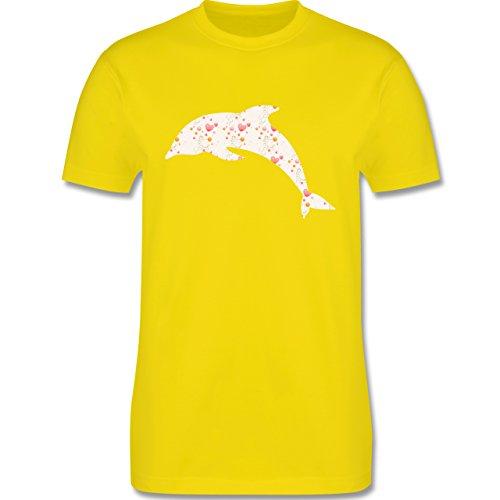 Sonstige Tiere - Delfin Herzen - Herren Premium T-Shirt Lemon Gelb