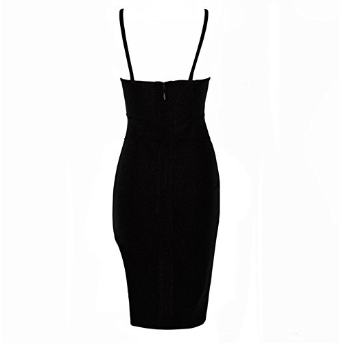 HLBandage Spaghetti Strap Side Split Backless Rayon Bandage Dress Nero
