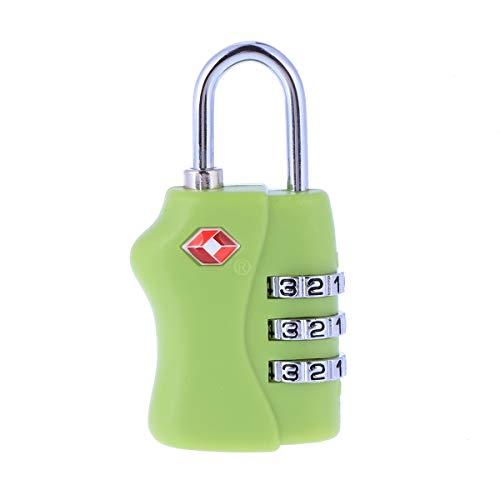 Vosarea Sicherheitsgepäckschloss, tragbar, TSA, Zahlenschloss mit 3 Ziffern, Grün