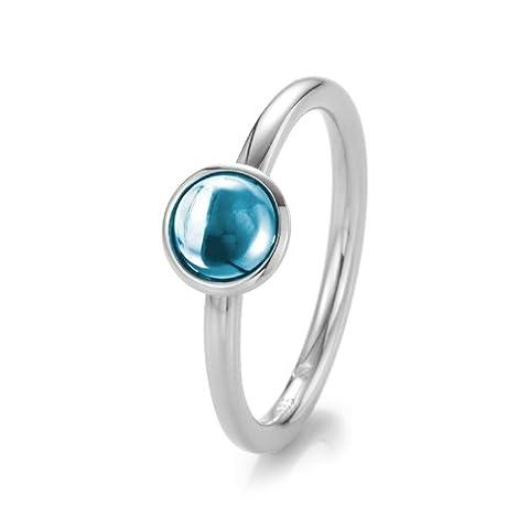 21DIAMONDS Women's Ring Jade Cabochon Cut Sky Blue Topaz Engagement Ring 14K White Gold Engagement Ring Weißgold mit blauem Topas