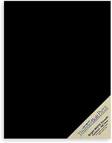 25Dark schwarz glatter Bezug-Blatt-22,9x 30,5cm (22,9x 30,5cm) Rahmen und Sketch Pad Größe-80# (80Lb/Pfund) Bezug-Gewicht feine Papier für Qualität Ergebnisse auf einer glatten Finish (12x12 Schwarzen Cardstock Papier)