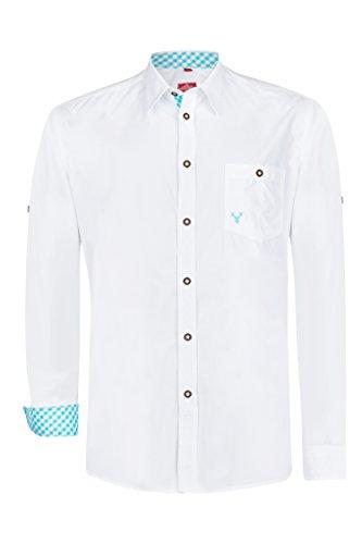 Schlusen Trachtenmode Trachtenhemd Hubert (XL, Türkis)
