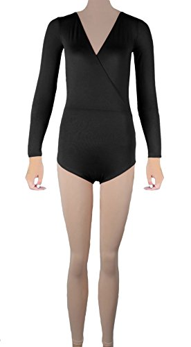 Howriis Lycra Unisex Body A Maniche Lunghe, Collo A V Playsuit Black XX-Large