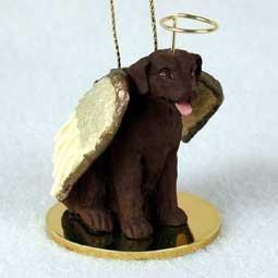 Chocolate Labrador Retriever Tiny One Dog Angel Christmas Ornament by C.C. -