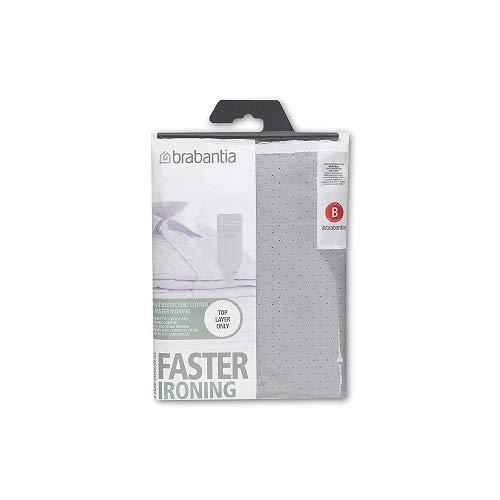 Brabantia faster ironing fodera, riflettente il calore, con spugna da 2 mm, 124x38 cm, metallizzato