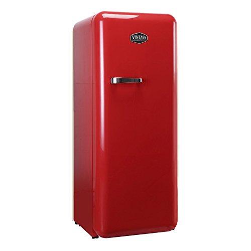 Vintage Industries ~ Retro-Kühlschrank Havanna 2017 in rot | 50er Jahre Look | Größe 152,5 cm | Kühl-Gefrier-Kombination 305l | Getränke-Kühlschrank mit Gefrierfach / Gefrierschrank 25l