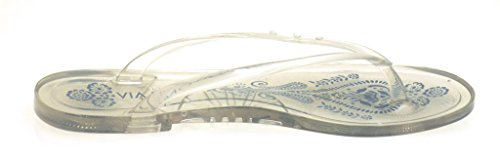 Via Uno Zehentrenner Zehensteg Plastik Pantolette Strandschuhe 20902801 Strand clear/blue jeans