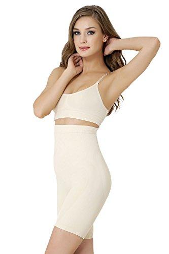 Formeasy Damen Shapewear Miederhose bauch weg stark formend Miederpants mit Bein Taillenformer Shaper angenehme figurformende Wäsche, Beige, X-Large