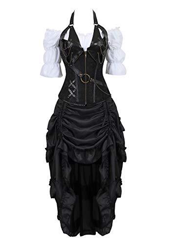 Korsett Kostüm Piraten - Steampunk Corsagenkleid Neckholder Corsage Korsett Kostüm Pirat Spitzenrock und Bluse für Karneval Fasching Halloween Schwarz 3XL