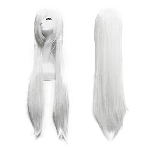 100cm Cosplay Lange Gerade Perücke Voll Wig (Weiß) (Weiße Perücken)