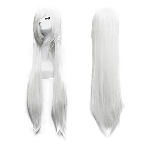 100cm Cosplay Lange Gerade Perücke Voll Wig (Weiß) -