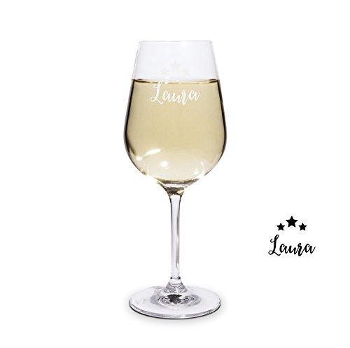 PrintPlanet Graviertes Weißweinglas - Leonardo Weinglas mit Gravur (mit Name oder Text...
