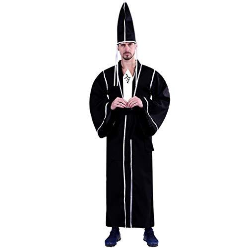 Schwarz Token Kostüm - FKMYS schwarzen Unbeständigkeits-Rollenspiel-Kostüme, Halloween-Rollenspiel-Kostüme for Herren, Themenparty-Kostüme, einschließlich Overalls, Hüte, Gürtel, Token