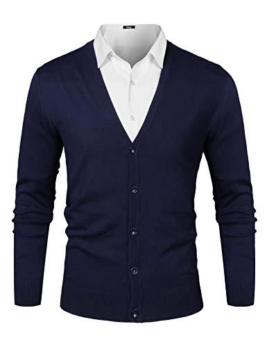 iClosam Herren Strickjacke Cardigan Mit V-Ausschnitt Aus Baumwolle (Dunkelblau, XL)