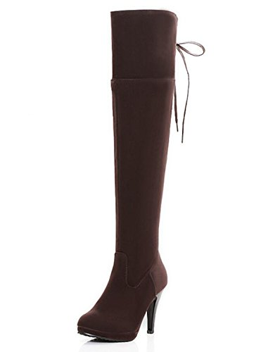 LINYI Frauen Stiletto Heel Overknee Stiefel Große Größe Runden Kopf Wasserdicht High Heels Reißverschluss Ritter Stiefel,Brown-46