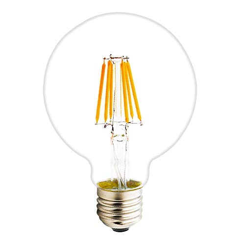 E27 LED Filament Lampe, 6W 500 Lumen Glühfaden Birnen, ersetzt 45W Glühlampe lampe, 2200 Kelvin Warmweiß Dimmbar, Vintage Glühbirne, 360° Abstrahlwinkel, Klar Glas 45 Lumen-led