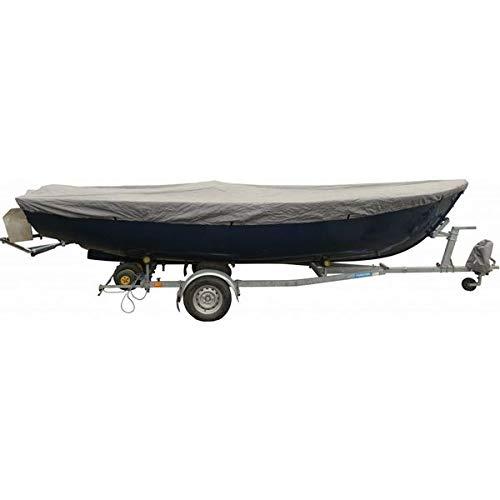 Universelle Bootspersenning 300D | Größe 250 bis 310cm x 173cm | wasserdichte graue Bootsplane mit Seil und Aufbewahrungstasche | Schutz vor allerlei Umwelteinflüssen dank PVC-Beschichtung