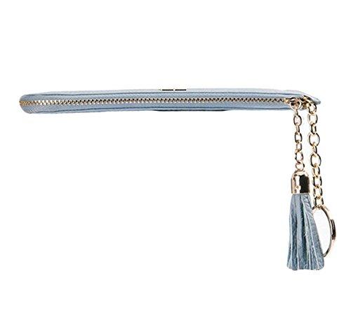 Ms. Sezione Portafogli In Pelle Con Frange Lunga Di Sottile Frizione Portafoglio Grey