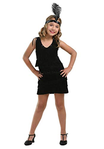 Kostüm Flapper Girl Fringe - Child Black Fringe Flapper Fancy Dress Costume X-Large