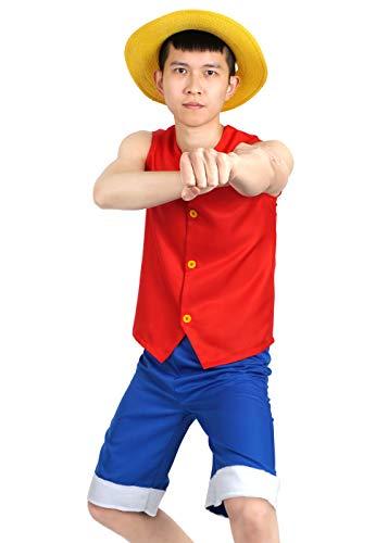 CoolChange One Piece Kostüm Monkey D. Ruffy, bestehend aus Weste, Hose und Hut (XL)