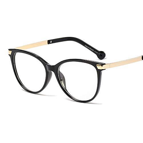 Retro einfache runde Brillengestell, Drop Temple, Flat Mirror Women Brille (Farbe : Bright Black)