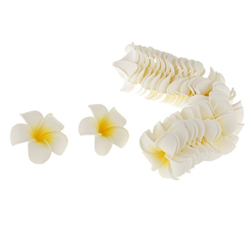 Generic 100x Hochzeit Hawaiischer Frangipani Blumen Blüten Handwerk DIY Haus Partei Dekoration aus Schaum - Gelb, 7cm
