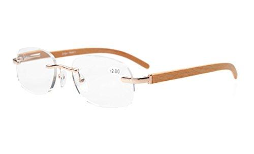 40f9ffea43e Eyekepper Readers Reading Glasses Men Women Spring Hinges Wood Temple  Rimless Eyeglasses Gold - Buy Online in Oman.
