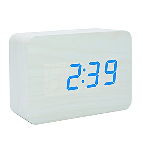 Electronic LED Wooden Clock Digital Silent Time Temperature Date Alternate Display Desktop Home Bedroom Travel Alarm Clock Bedside non ticking with Sound Control Function (White Wood Blue