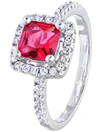 Little Treasures Sterling Silver CZ Ruby Square Engagement Ring