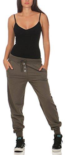 malito Harem Pantaloni nella classico Design Boyfriend Aladin Sbuffo Pantaloni Pump Baggy Yoga 8021 Donna Taglia Unica Marrone