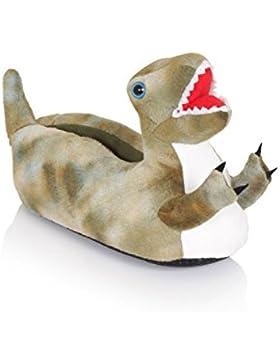 SlumberzzZ Jungen Monster Design Flauschig Hausschuh Mit Elastischer Absatz FT0806 - T-Rex 2, 29/31
