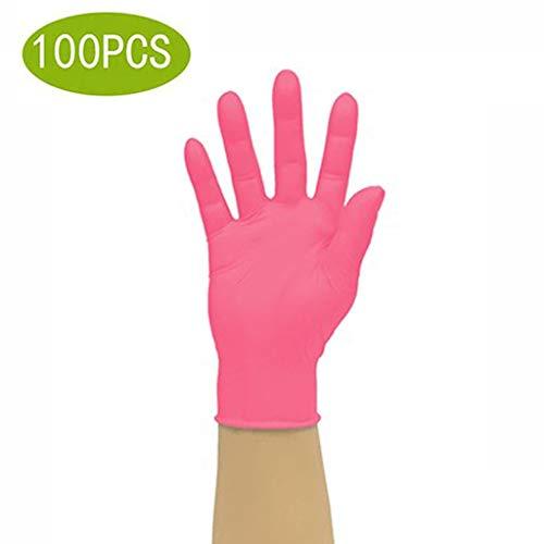 CLQ Einweg-Nitrilhandschuhe - Puderfrei, Gummi-Latexfrei, for medizinische Untersuchungen geeignet, Nicht steril, beidhändig - (1 Packung, 100 Stück) (Size : S) -