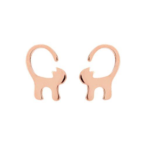 Selia Origami Katzen Ohrring Kitty Ohrstecker Statement minimalistisch glänzende Optik handgemacht (Rosegold)