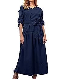86df99ded Freestyle Primavera Otoño Mujeres Largo Vestido con Hendidura Casual  Colores Lisos Playa Vestido con Vendaje Moda