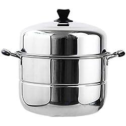 Couche/vapeur en acier inoxydable marmite à soupe 2-3 grande capacité des ménages avec vapeur 40cm Épaissie Convient for Cuisinière à gaz/Cuisinière à induction (Size : 2 layer)