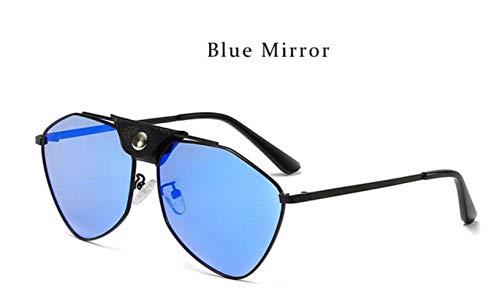 Cranky Orange Fashion Spiegel Sonnenbrille Pilot Polarisierte Designer Damen Sonnenbrille Metallrahmen Steampunk maskuline Brille Männlich, Blue Mirror