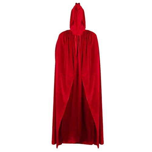 SimpleLife Halloween Hexe Samt Mantel Erwachsene Kapuzen Cape Hochzeit Kostüm Robe Party - Rot Hooded Robe Für Erwachsene Kostüm