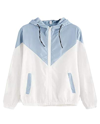 CuteRose Women's Hooded Zip-Front Sunscreen Long Sleeve Pocket Wrap Coat Light Blue XS